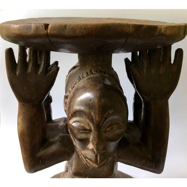 Early 20th Century African Songye-Luba Tribal Male Female Caryatid Figural Stool For Sale - Image 4 of 10