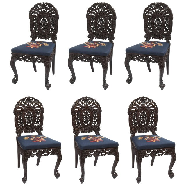 Superb Set of Four 19th Century Anglo-Indian Side Chairs For Sale