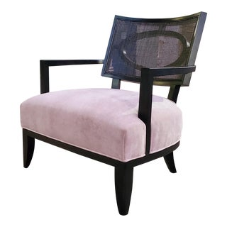 Henredon Barbara Barry Open Oval Cane Back Espresso Accent Chair For Sale