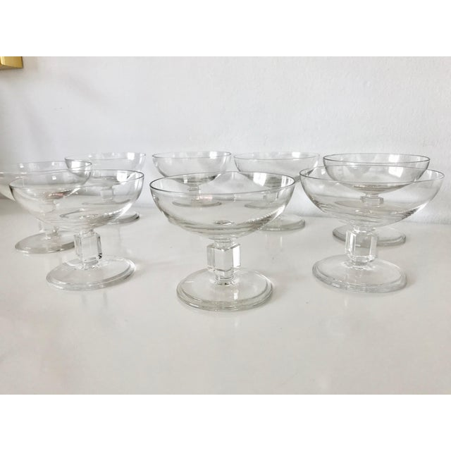 Mid-Century Modern Vintage Mid-Century Nevel Cube Stem Crystal Coupe Champagne Glasses by Val St. Lambert - Set of 8 For Sale - Image 3 of 10