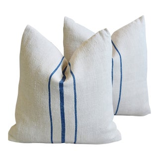 "Blue & White French Grain Sack Feather/Down Pillows 19"" Square - Pair For Sale"