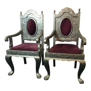 1960s Rococo Metal Overlay Arm Chairs - a Pair
