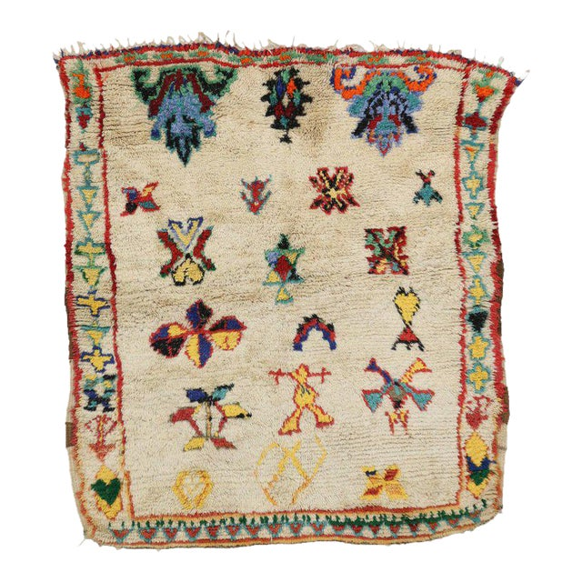 Vintage Berber Moroccan Rug with Modern Tribal Design For Sale