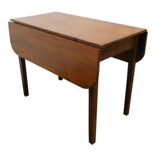 Early 1900s Distressed Drop Leaf Dining Card Gaming Table For Sale