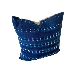 """African Mali Indigo With Designers Guild Grey Velvet 20"""" Pillow For Sale"""