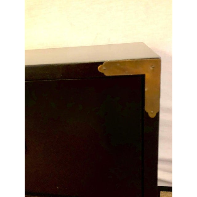 Black Campaign Style Ebony Chest / Dresser or Nightstand Attributed to Baker For Sale - Image 8 of 13