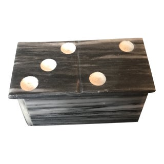 1970s Traditional Black Marble Hand-Painted Domino Set For Sale