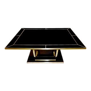 Italian Contemporary Art Deco Black Glass and Brass Coffee Table on Curved Legs For Sale
