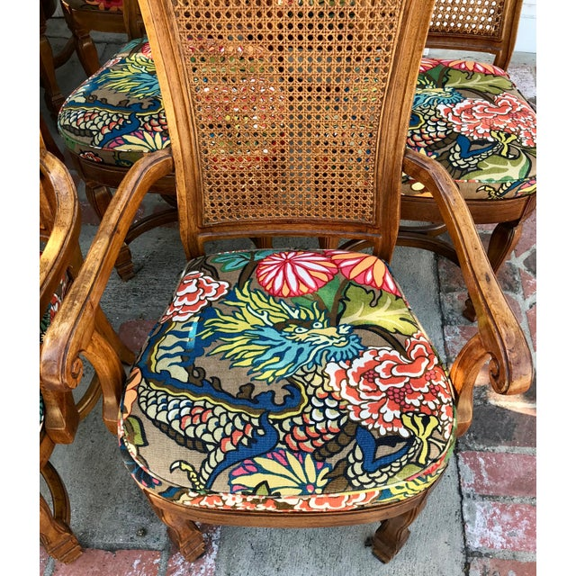 1970s Vintage Cane Back Dining Chairs- Set of 8 With Schumacher Fabric, Chiang-Mai Pattern For Sale - Image 4 of 12