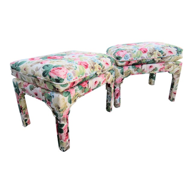 Late 20th Century Parsons Chinoiserie Style Rose Upholstered Stools - a Pair For Sale