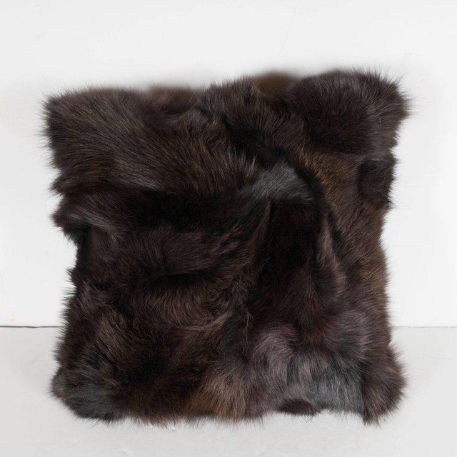 1920s Luxurious Custom New Handmade Fox Fur Pillows in a Stunning Onyx Shade For Sale - Image 5 of 10