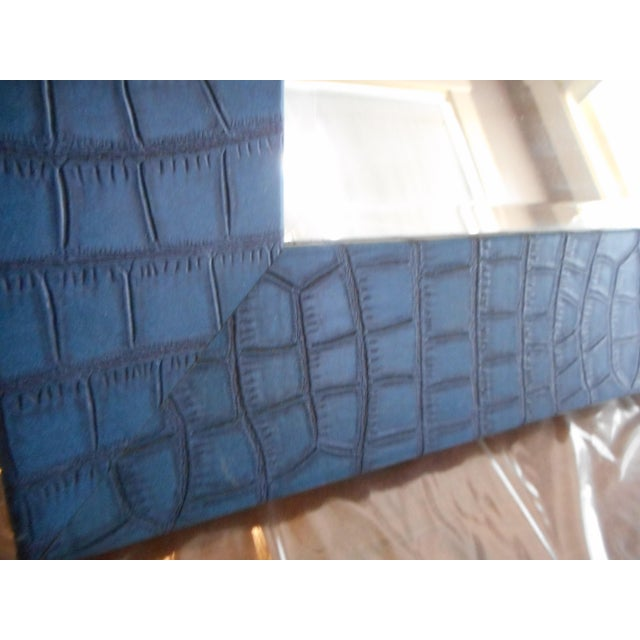 Modern Blue Leather Faux Crocodile Mirror - Image 3 of 4