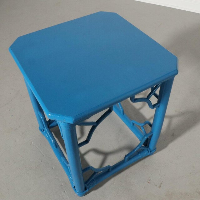 Mid-Century Modern Rattan Fretwork Side Table Painted Blue For Sale - Image 3 of 9