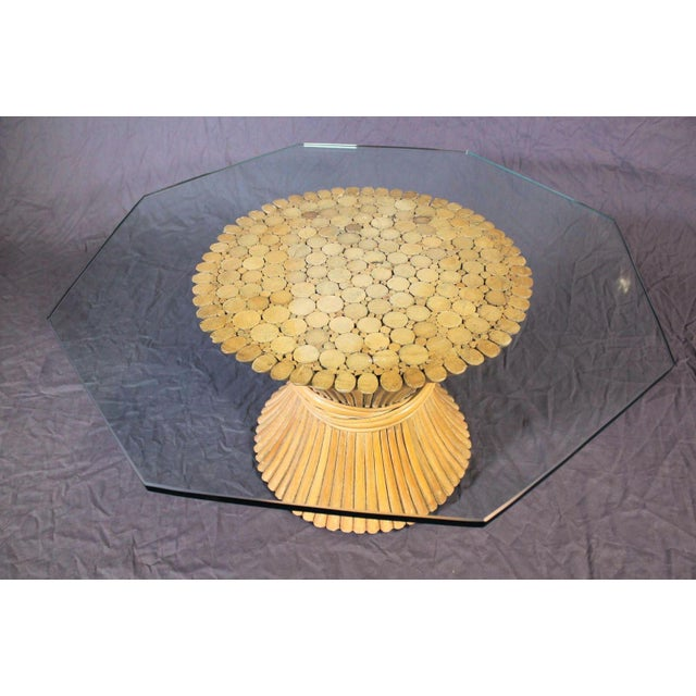 McGuire Glass Top Wheat Coffee Table - Image 5 of 10