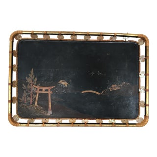 Mid-Century Japanese Lacquer Woven Rattan and Mother of Pearl Tray For Sale