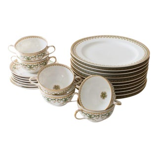 French Limoges Green and Gold Holiday Havilland - Set of 22