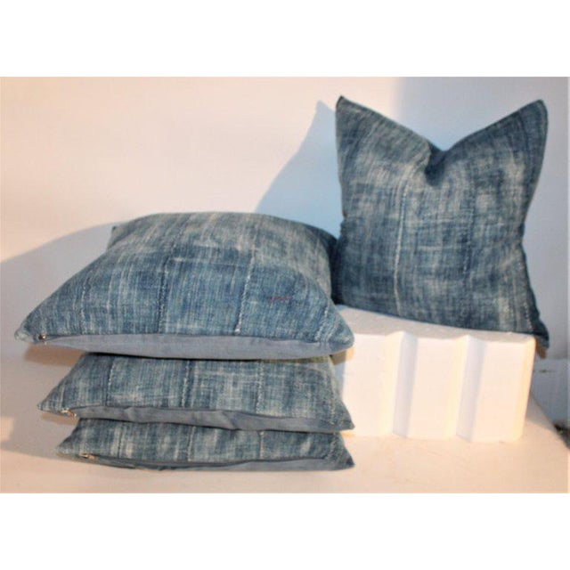 19th Century Blue Homespun Linen Pillows - a Pair For Sale - Image 4 of 10