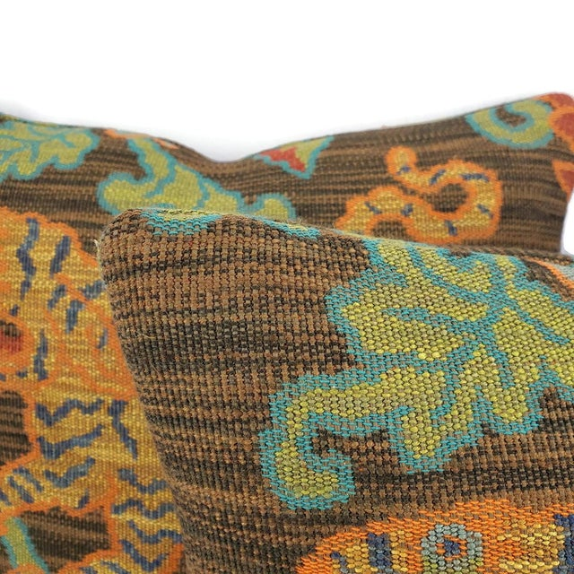 "Contemporary F. Schumacher Khotan Weave in the Color Sable Square Pillow Cover - 20"" X 20"" Brown, Orange, Blue, Tiger Weave Throw Cushion Case For Sale - Image 3 of 8"