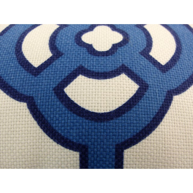 This is a custom made, boldly printed, blue and white pillow. It is zipped and comes with a Polyester Fiber insert. There...