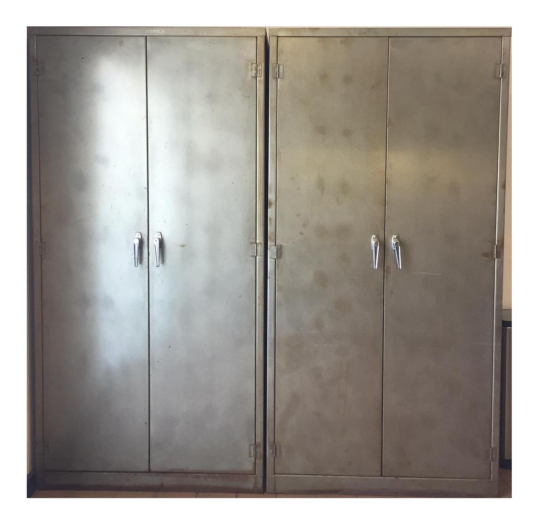 Vintage Industrial Metal Storage Cabinets Lockers  A Pair
