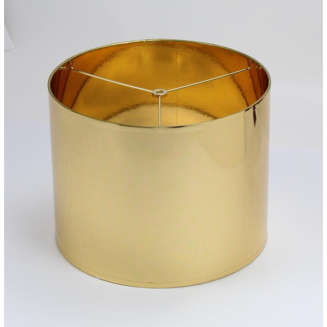Not Yet Made - Made To Order Small High Gloss Gold Drum Lampshade For Sale - Image 5 of 9