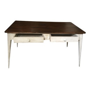 Dining Table or Partners Desk With Four Drawers in Antique White Patina, France For Sale
