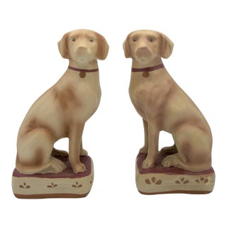 Vintage Plaster Labrador Bookends - a Pair For Sale