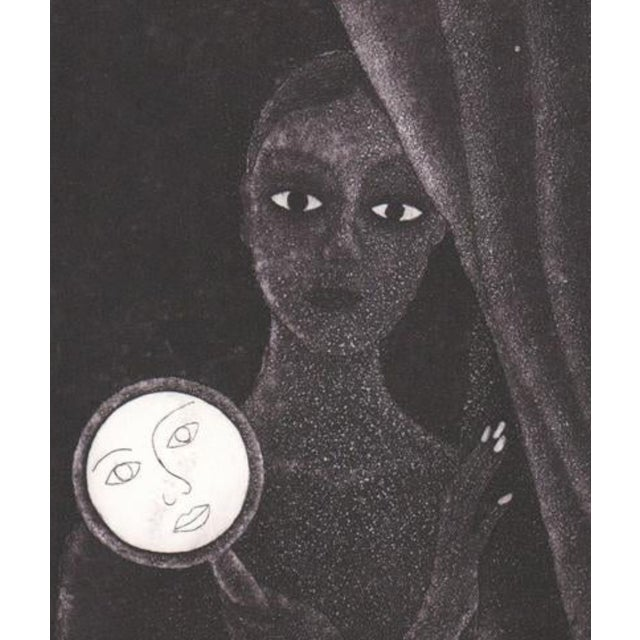Laura Rojas etching and aquatint of a lady holding a mirror. Signed lower right.