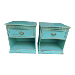 Pair Aqua/Seafoam Coastal Nightstands Classic Cottage Teal Night Tables For Sale