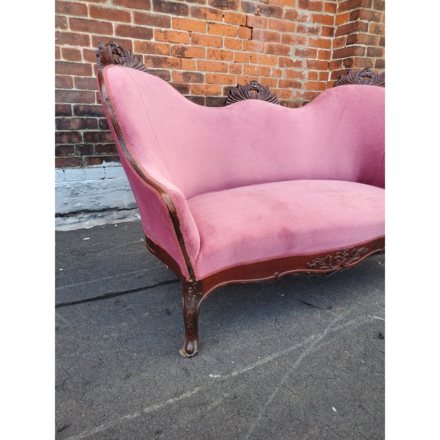 Antique Victorian Pink Velvet Carved Wood Purple Settee For Sale In Providence - Image 6 of 9