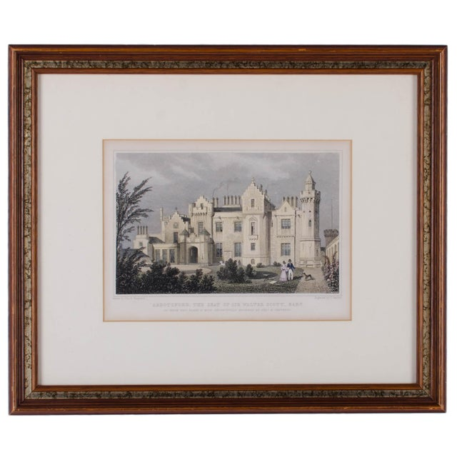 Offered is an engraving by Barber, after Shepherd depicting the front of Abbotsford House located on the Scottish border...