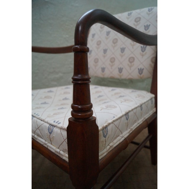 Solid Mahogany Faux Bamboo Arm Chairs - A Pair - Image 10 of 10