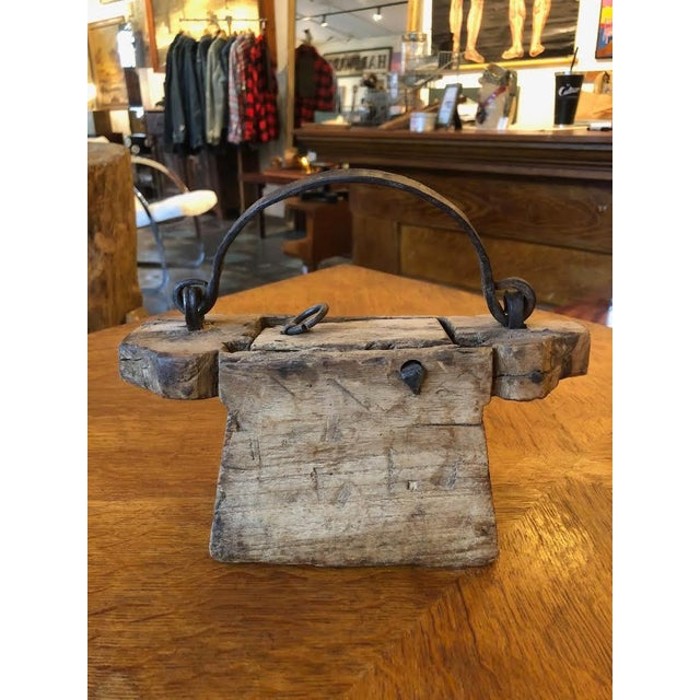 Brown Folk Art Wood Carved Handbag/Purse With Hand Forged Hardware For Sale - Image 8 of 8