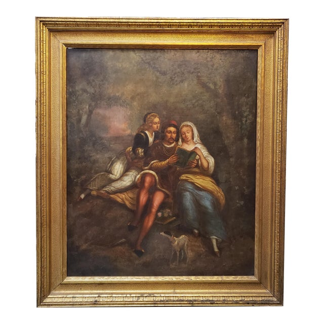 Late 18th/Early 19th Century Italian School Man and Women Reading in Forest Oil Painting Set in a Florentine Gold Wood Frame For Sale
