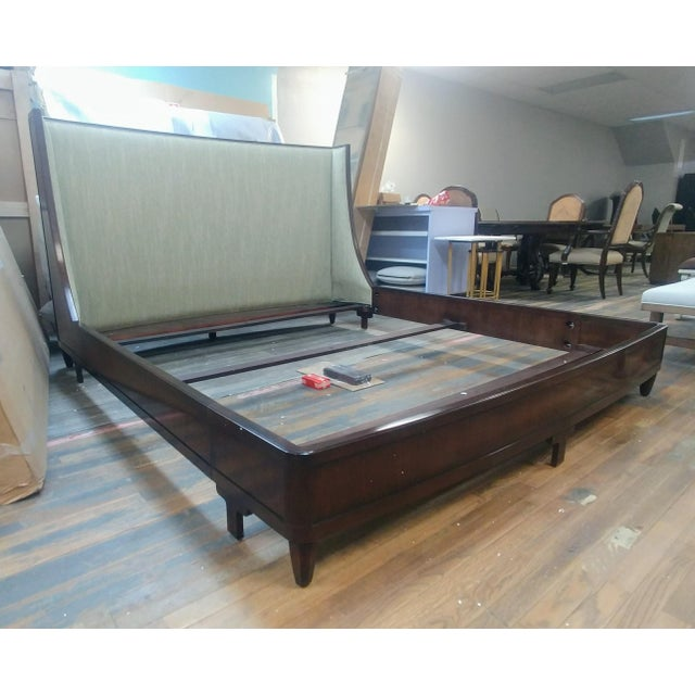 Wood Henredon Furniture Barbara Barry Graceful Walnut Upholstered King Platform/Low Profile Bed For Sale - Image 7 of 13