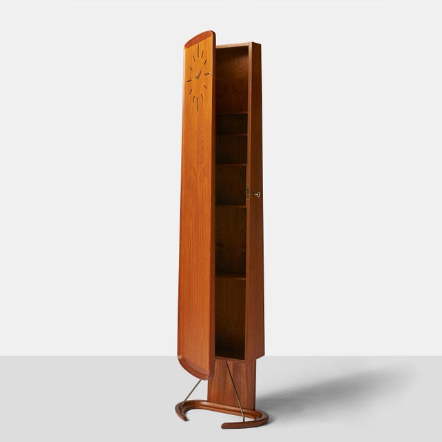 An Arne Hovmand-Olsen teak Clock with interior cabinet For Sale In San Francisco - Image 6 of 8