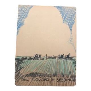"1940s Evelyn Underwood ""Plowing"" Drawing For Sale"