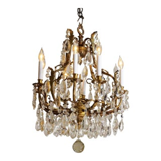 1910s French Bronze & Crystal 8 Light Chandelier For Sale