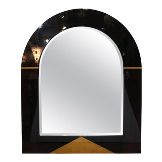 Postmodern Arched Mirror with Gilt Accents For Sale