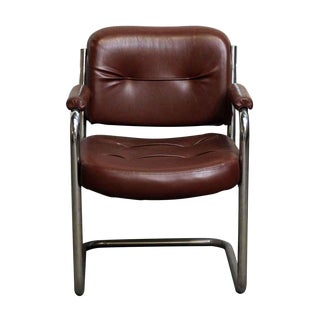 Mid-Century Brown Leather Office Chair