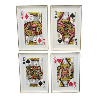 1960's Vintage Snack Trays in Playing Card Shapes - Set of 4-Made in Japan For Sale