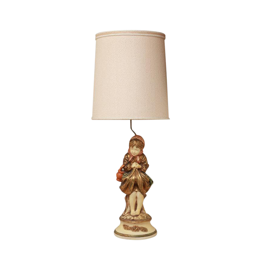 Hand Painted Italian Figural Chalkware Table Lamp