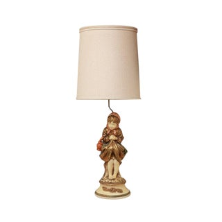 Pieri Hand Painted Italian Figural Mid 20th Century Chalkware Table Lamp For Sale