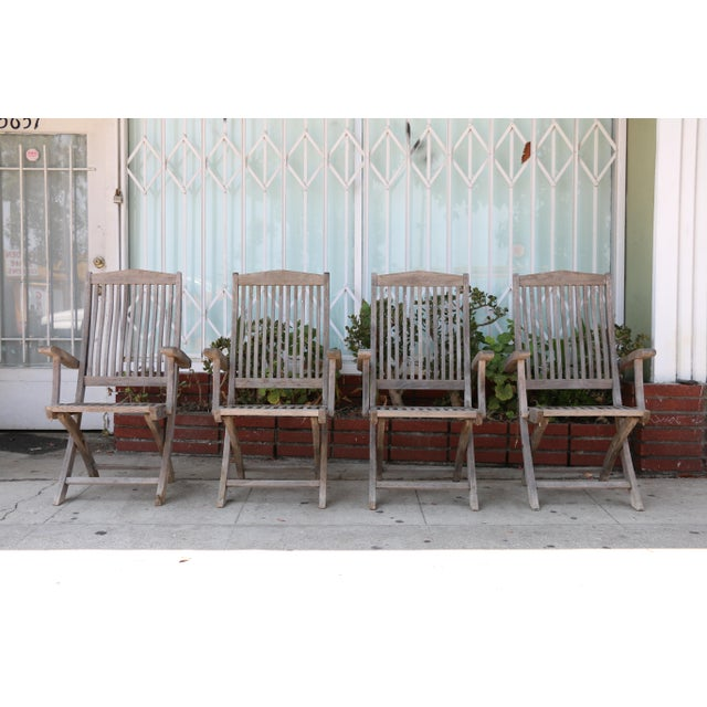 Vintage Set of Teak Outdoor Patio Chairs For Sale - Image 13 of 13