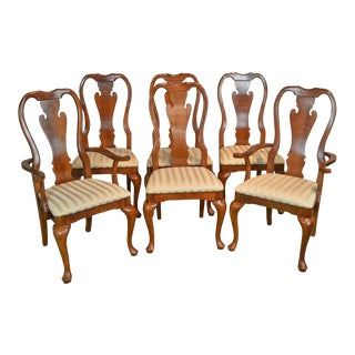 Thomasville Traditional Queen Anne Style Set of 6 Cherry Dining Chairs (Winston Court) For Sale