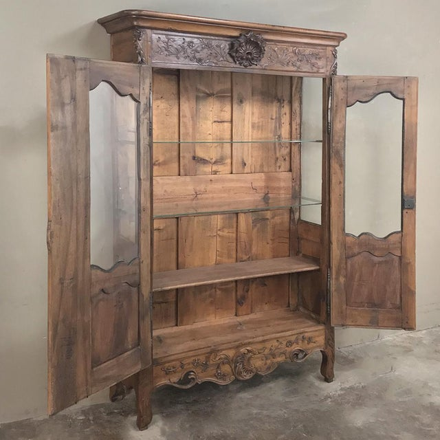 19th Century Country French Provincial Walnut Vitrine ~ Bookcase For Sale - Image 4 of 13
