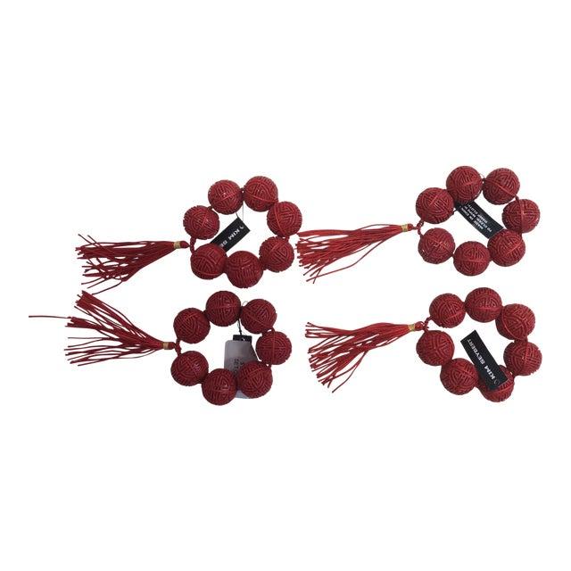 Art Deco Kim Seybert Cinnabar Red Napkin Rings - Set of 4 For Sale