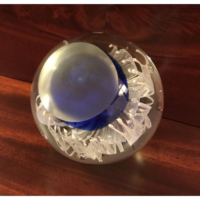 Blue Cobalt Blue Glass Art Paper Weight With Fringed White Flower For Sale - Image 8 of 9