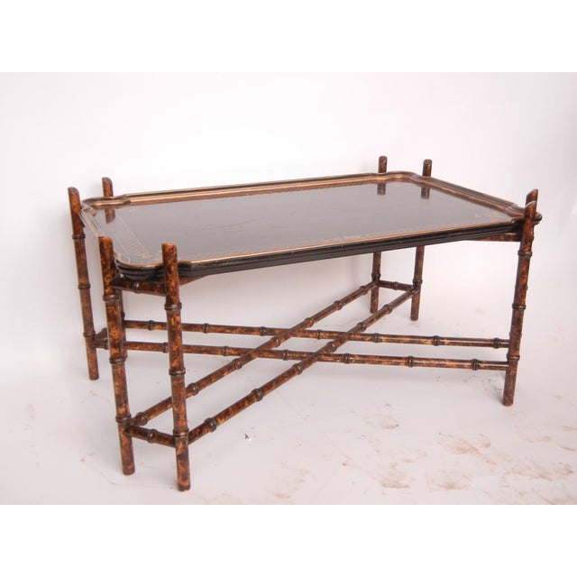 Baker Furniture Company 1950's Vintage Baker Faux Bamboo Coffee Table For Sale - Image 4 of 4