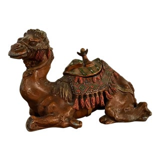 Antique Anglo-Indian Styled Cast Metal Camel Inkwell Sculpture For Sale